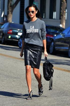 le-fashion-blog-jamie-chung-aviator-sunglasses-madewell-sezane-la-superbe-sweatshirt-leather-skirt-sophia-webster-heels-los-angeles