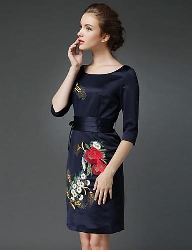 Buena calidad Mujer Vaina Vestido Formal Trabajo Tallas Grandes Tejido OrientalBordado Escote Redondo Sobre la rodilla 34 Manga Azul Poliéster 02087407_6